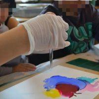 近江八幡でアルコールインクアートのワークショップ